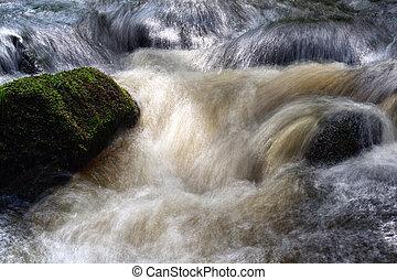 hojnost zředit vodou, nad, peřeje, řeka, -, led