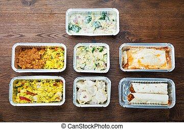 hojuela, comidas, tabla, sabroso, contenedores