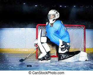 hokej, broniąc, podczas, dziewczyna, netto, mecz, goaltender