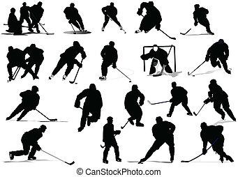 hokej, illustr, players., vektor, led