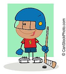 hokej, interpretacja, hispanic, chłopiec, bramkarz