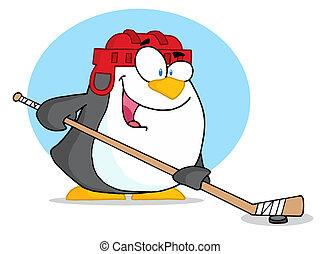hokej, interpretacja, sporty, pingwin, lód