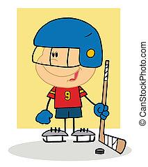 hokej, interpretacja, szczęśliwy, chłopiec, bramkarz
