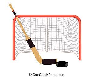 hokej puck, bramkarz, netto, wtykać
