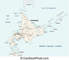 hokkaido, vector, camino, japonés, isla, mapa