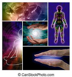 holístico, curación, collage