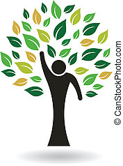hola, 5 personas, árbol, logotipo