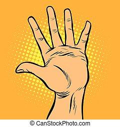 hola, cinco, gesto mano