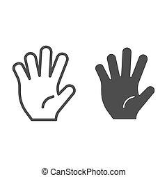 hola, cinco, línea, y, glyph, icon., cinco, dedos, gesto, vector, ilustración, aislado, en, white., gesto mano, contorno, estilo, diseño, diseñado, para, tela, y, app., eps, 10.