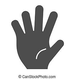 hola, cinco, sólido, icon., cinco, dedos, gesto, vector, ilustración, aislado, en, white., gesto mano, glyph, estilo, diseño, diseñado, para, tela, y, app., eps, 10.