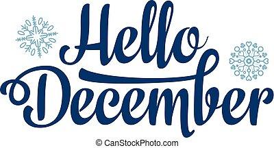 hola, diciembre, card., feriado, decor., letras