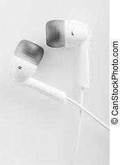 hola fiel, macro, blanco, auriculares