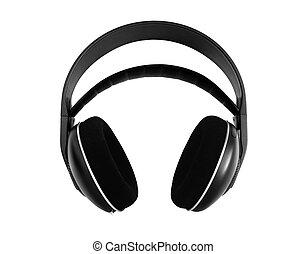 hola fiel, radio, auriculares, aislado