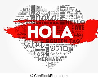 Hola (Hello Greeting in Spanish) love heart word cloud in ...