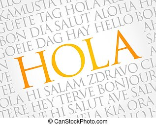 Hola (Hello Greeting in Spanish) word cloud concept - Hola (...
