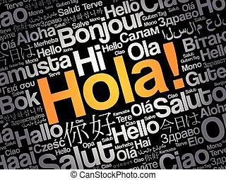 Hola! (Hello Greeting in Spanish) word cloud in different ...