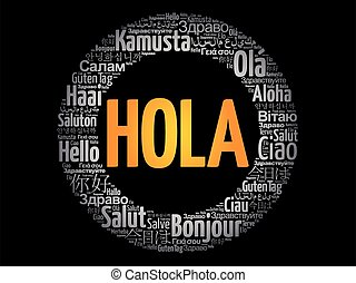 Hola (Hello Greeting in Spanish) word cloud in different ...