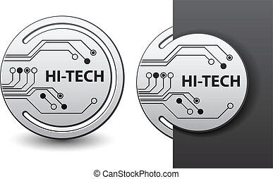 hola-hi-tech, etiquetas, unido, vector, tabla, circuito, redondo