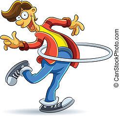 cartoon illustration of man playing hola hoop