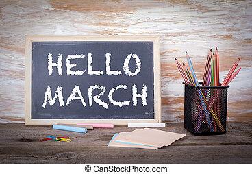 hola, marzo, concept., viejo, tabla de madera, con, textura
