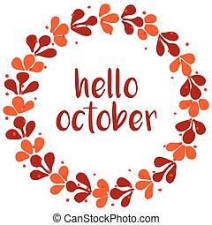 hola, octubre, guirnalda, naranja, tarjeta