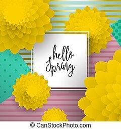 hola, primavera, papel, arte, flor, tarjeta de felicitación