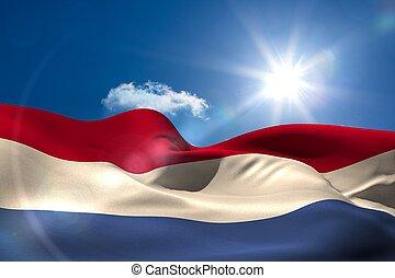 holandés, bandera nacional, debajo, soleado, cielo