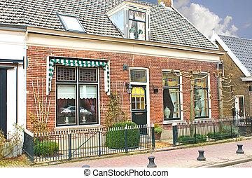 holandés, casa, en, el, suburbs., países bajos