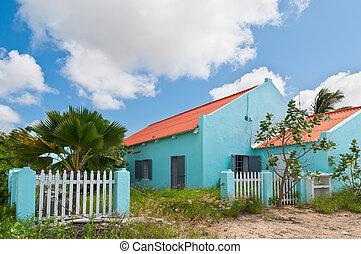 holandés, colorido, casas, en, bonaire, caribe