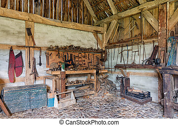 holandés, rural, al aire libre, viejo, museo, carpintero, herramientas, lugar de trabajo
