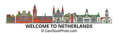 holandés, señales, silueta, vector, banner., países bajos, delgado, urbano, viaje, línea, plano, cityscape, iconos, perfil de ciudad, contorno, illustrations.