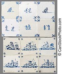 holandês, azulejo, de, a, 16th, para, a, 18º século