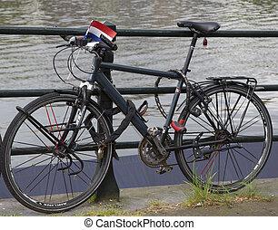 holandês, bicicleta, transporte