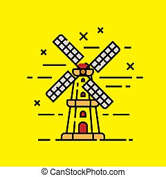 Holand windmill line icon
