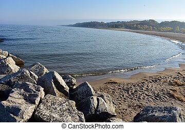 holanda, michigan, parque, lago, estado, praia