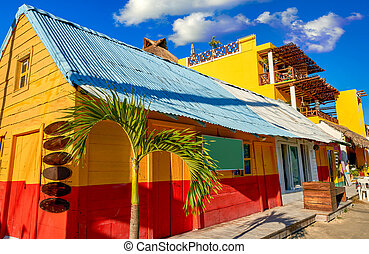 Holbox Island colorful Caribbean houses Mexico