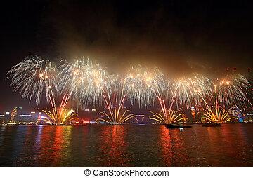 hold-, újév, tűzijáték, alatt, hong kong, 2011
