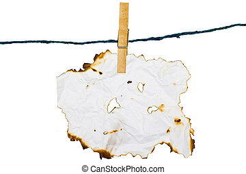 Hold Burn Paper with wood clip with white background