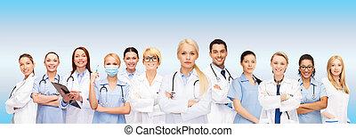 hold, eller, gruppe, i, doktorer sygeplejersker