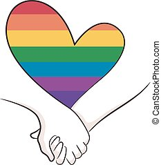 Hold Hands Rainbow Heart Lgbt Illustration