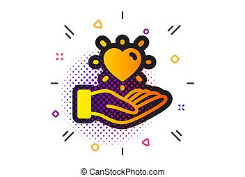 Hold heart icon. Friends love sign. Brand ambassador hand. Vector