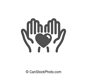 Hold heart icon. Friends love sign. Friendship hand. Vector