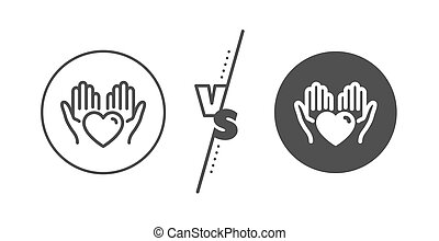 Hold heart line icon. Care love emotion sign. Vector