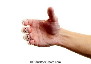 Human hand holding something against white background