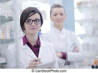 hold, i, apoteker, apotekeren, kvinde, ind, apotek, drugstore