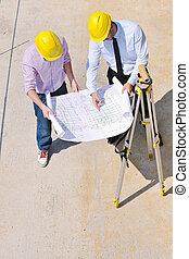 hold, i, arkitekter, på, konstruktion site