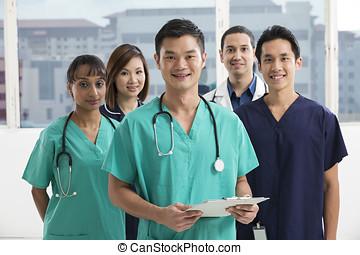 hold, i, multi-ethnic, medicinsk bemand