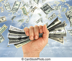 Hold Money - Wealth idea in a metaphor of the hand holds...