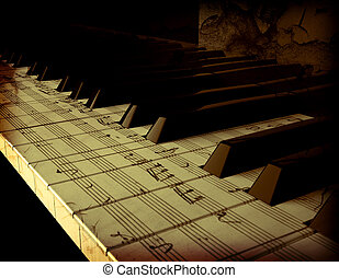 hold Piano keyboard painted with a pentagram.