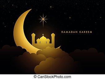 hold, ramadan, köszönés, növekedni, mecset, kareem